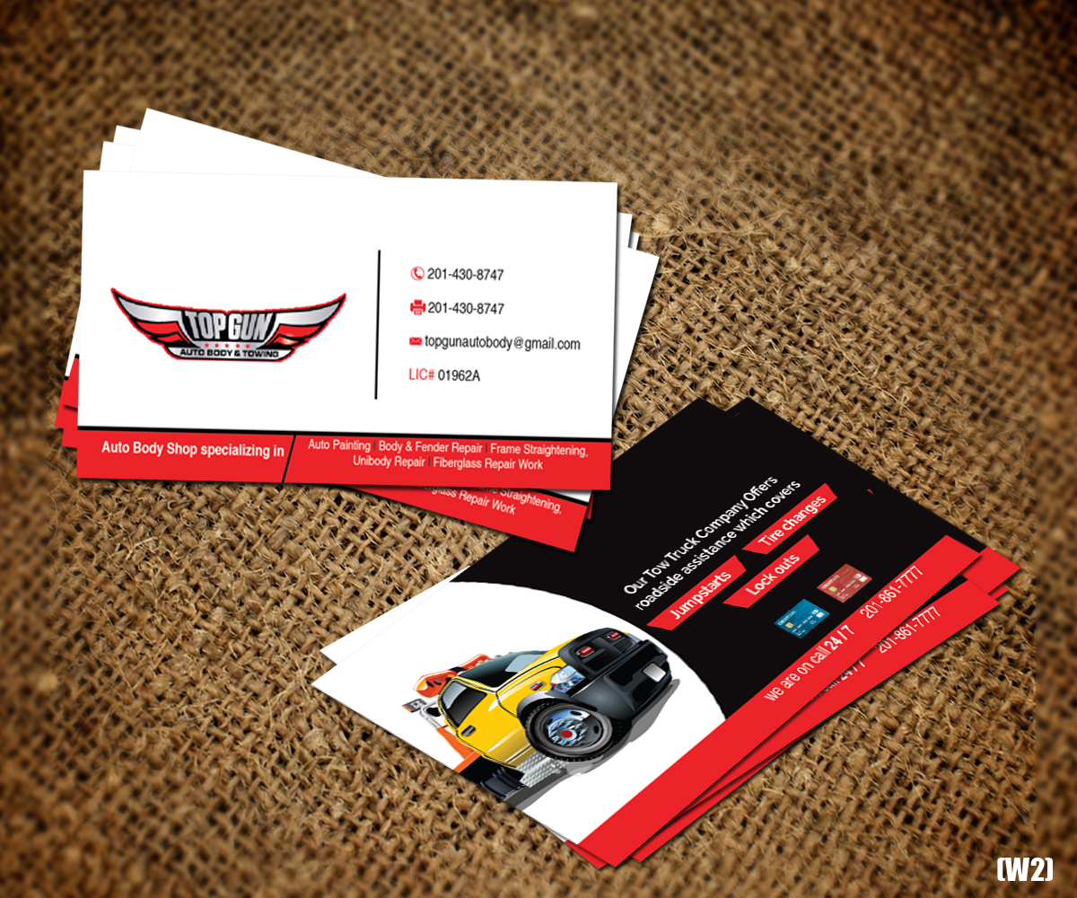 Bold serious business business card design for topgun autobody and bold serious business business card design for topgun autobody and towing in united states design 17745411 colourmoves