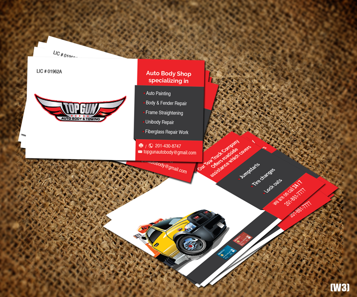 Bold serious business business card design for topgun autobody and bold serious business business card design for topgun autobody and towing in united states design 17745413 colourmoves