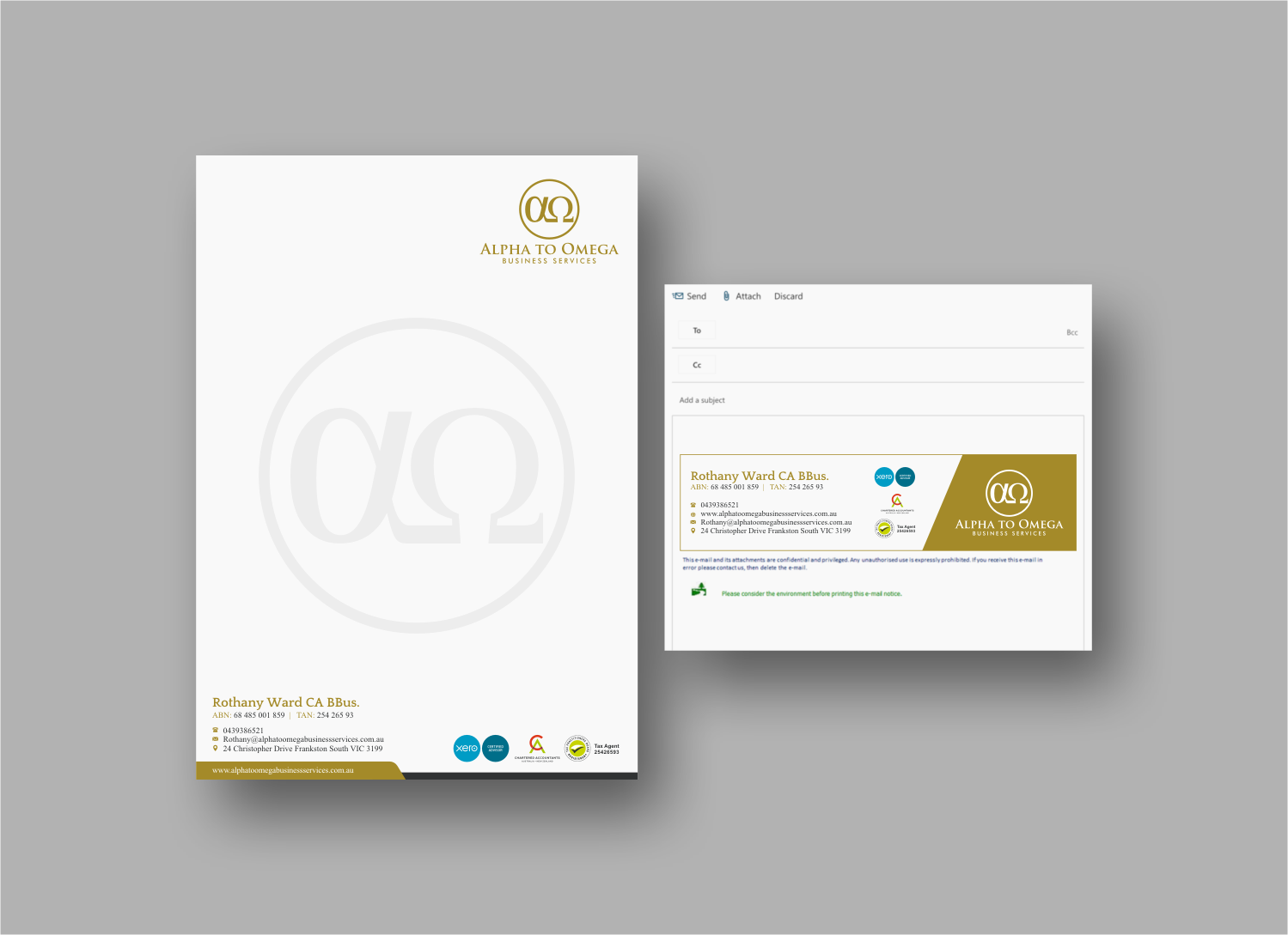 Upmarket Traditional Stationery Design for Alpha to Omega