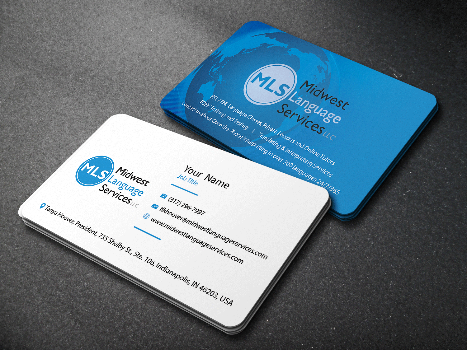 Serious modern business business card design for midwest language business card design by riz for midwest language services llc design 17771455 reheart Images