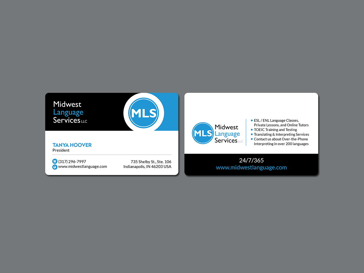 Serious modern business business card design for midwest language business card design by creations box 2015 for midwest language services llc design reheart Choice Image