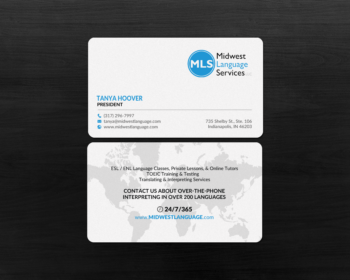 Serious modern business business card design for midwest language business card design by chandrayaaneative for midwest language services llc design reheart Image collections