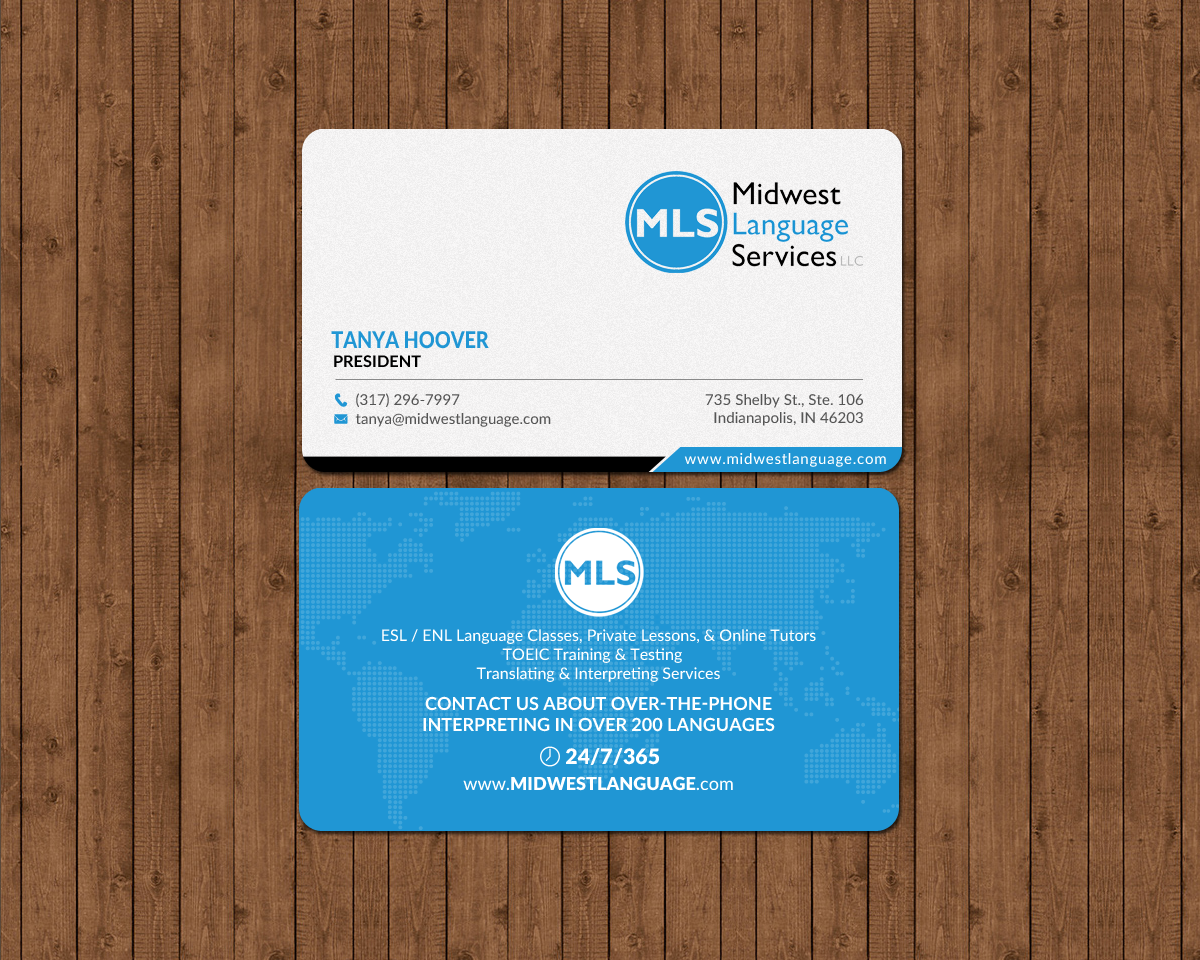 Serious modern business business card design for midwest language business card design by chandrayaaneative for midwest language services llc design reheart Choice Image