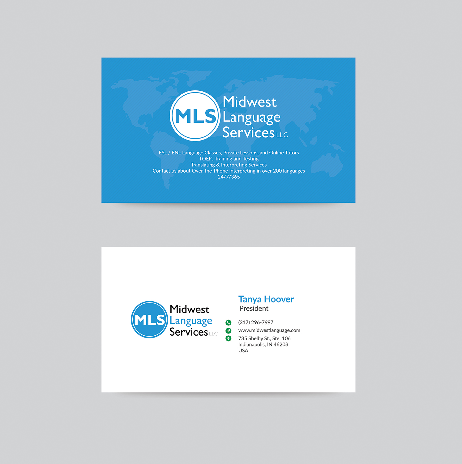 Serious modern business business card design for midwest language business card design by bdesigner9 for midwest language services llc design 17762528 reheart Choice Image