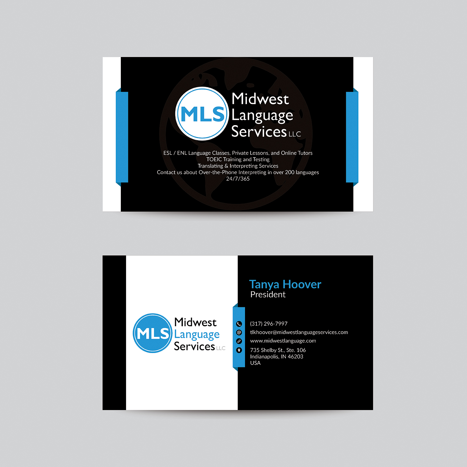 Serious modern business business card design for midwest language business card design by bdesigner9 for midwest language services llc design 17786850 reheart Image collections