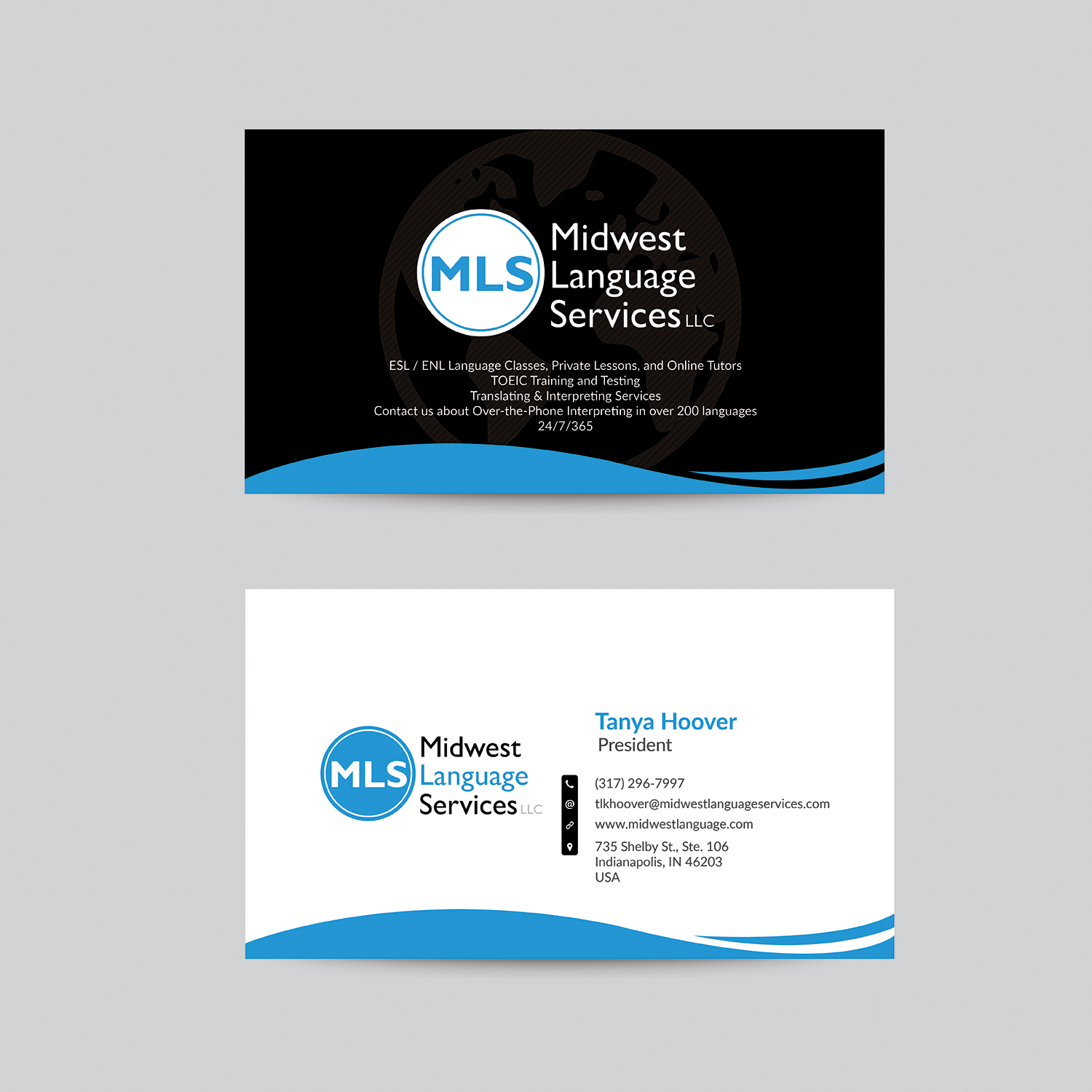 Serious modern business business card design for midwest language business card design by bdesigner9 for midwest language services llc design 17786851 colourmoves