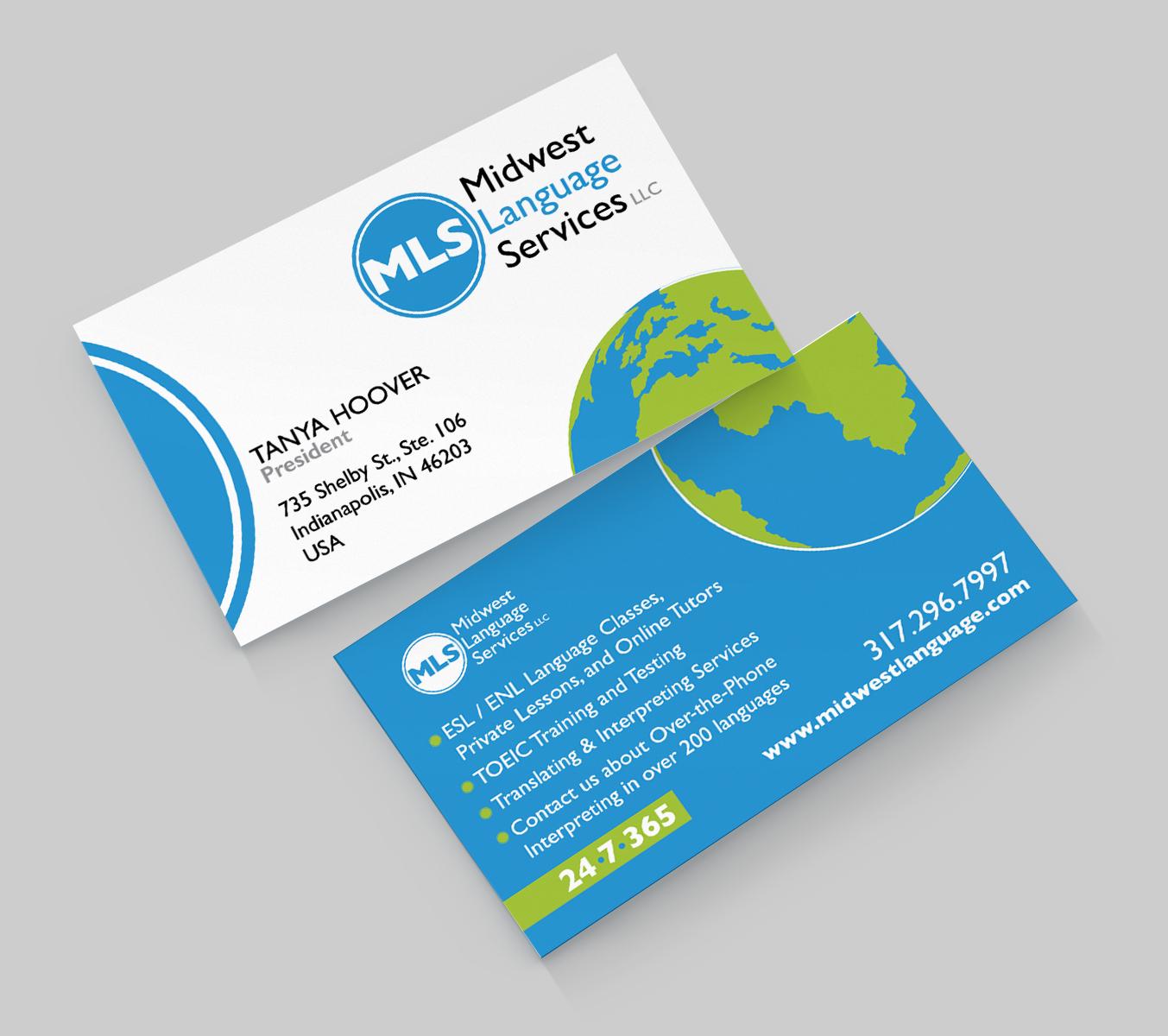 Serious modern business business card design for midwest language business card design by designseleni for midwest language services llc reheart Choice Image