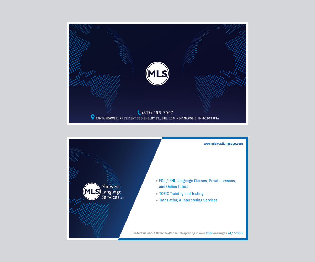 Serious modern business business card design for midwest language business card design by purnajyotikundu for midwest language services llc design 17745447 reheart Choice Image