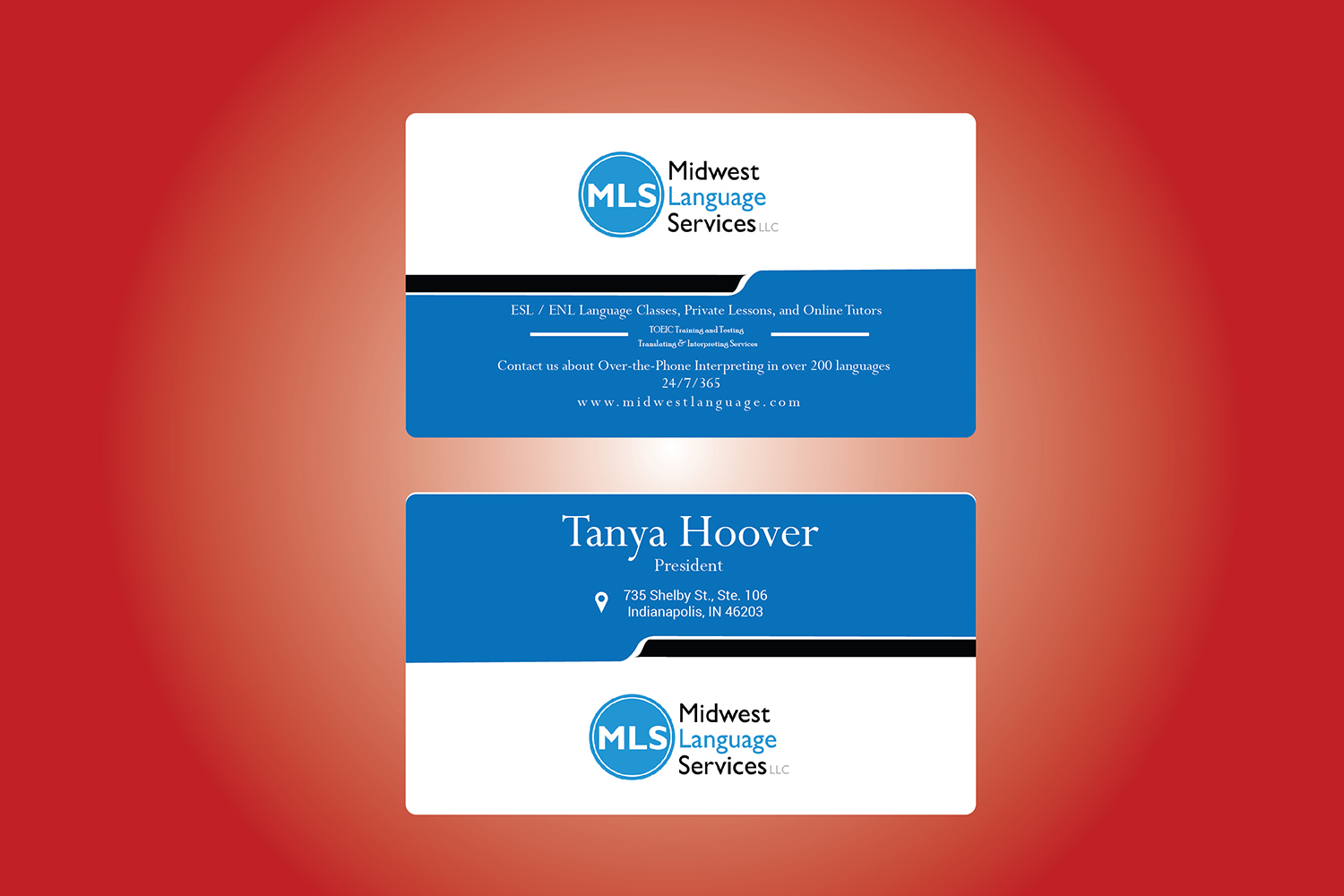 Serious modern business business card design for midwest language business card design by pixel art studio for midwest language services llc design reheart Choice Image