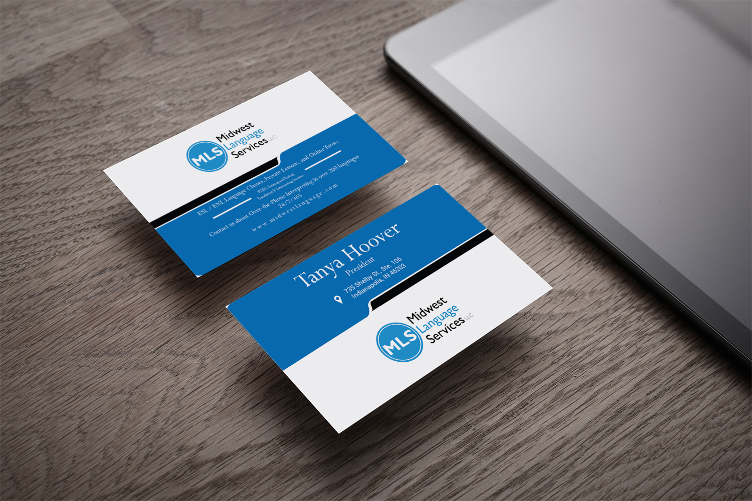 Serious modern business business card design for midwest language business card design by pixel art studio for midwest language services llc design reheart Image collections