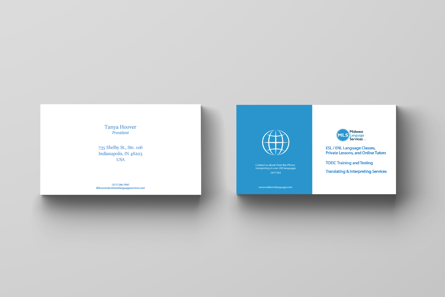 Serious modern business business card design for midwest language business card design by maria azaryan for midwest language services llc design 17767325 reheart Choice Image