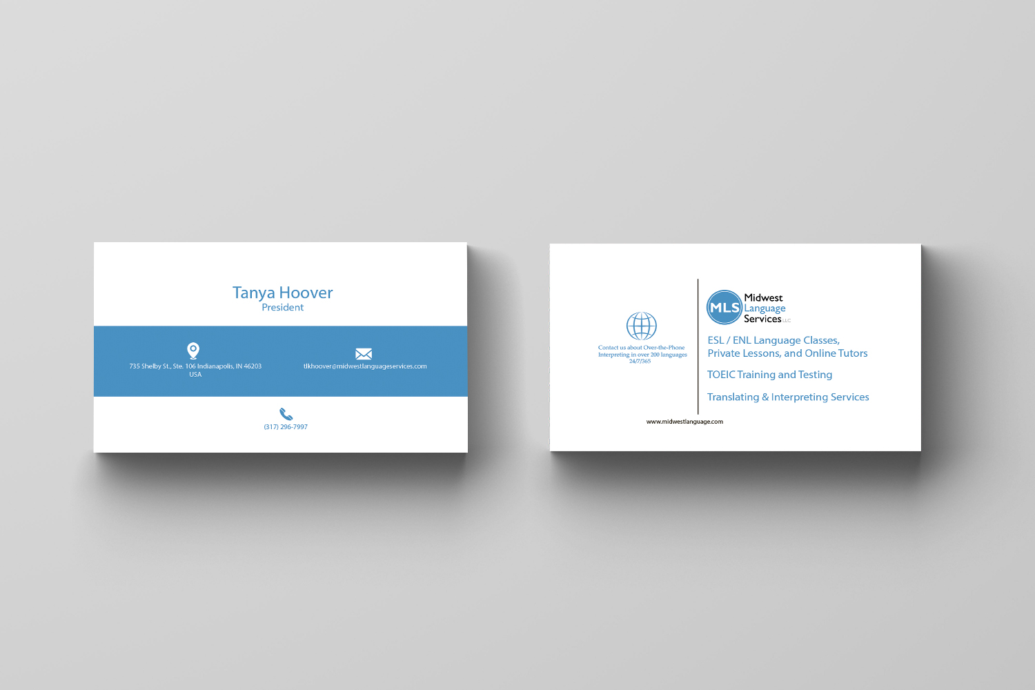 Serious modern business business card design for midwest language business card design by maria azaryan for midwest language services llc design 17769015 reheart Image collections