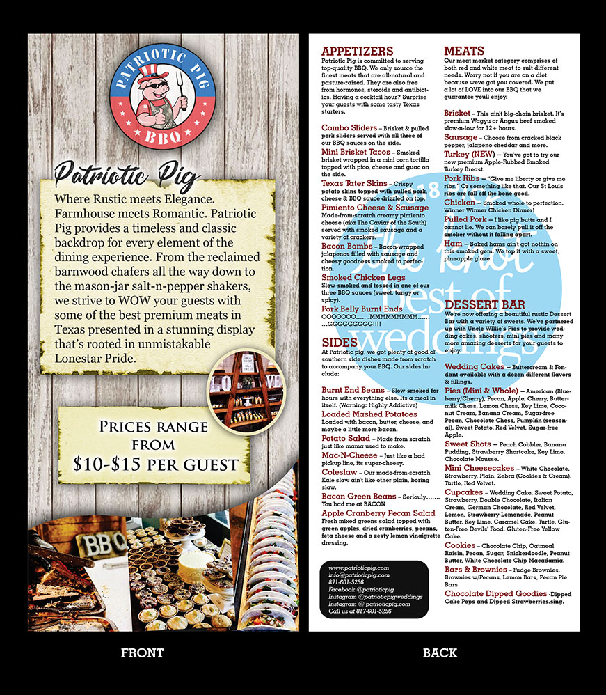 traditional feminine catering flyer design for patriotic pig by