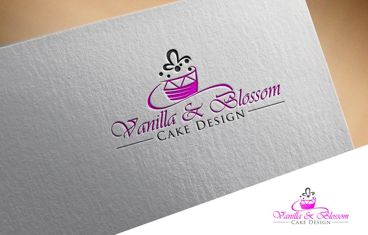 Elegant Playful Business Logo Design For Vanilla Blossom Cake