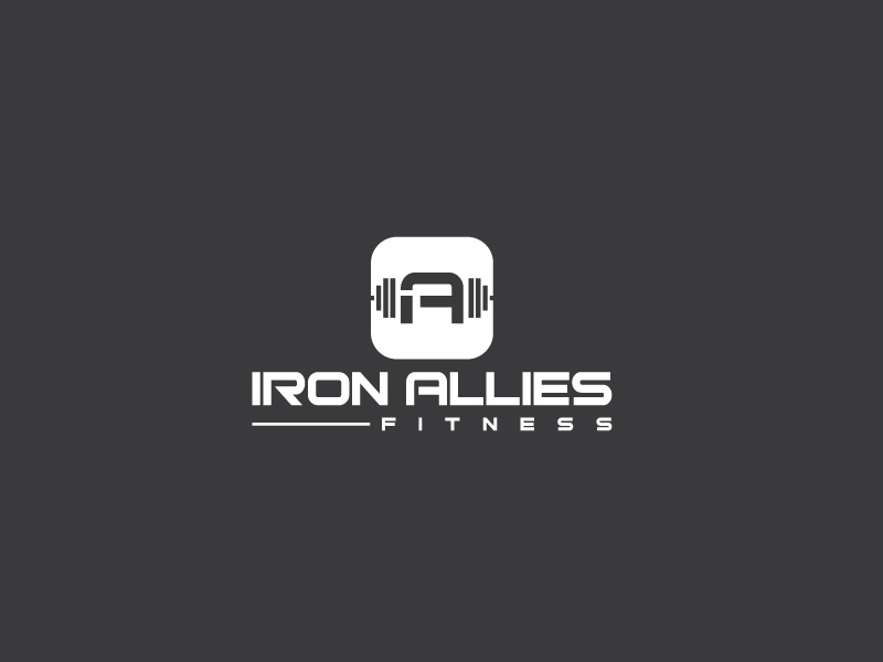 bold serious personal trainer logo design for iron allies fitness