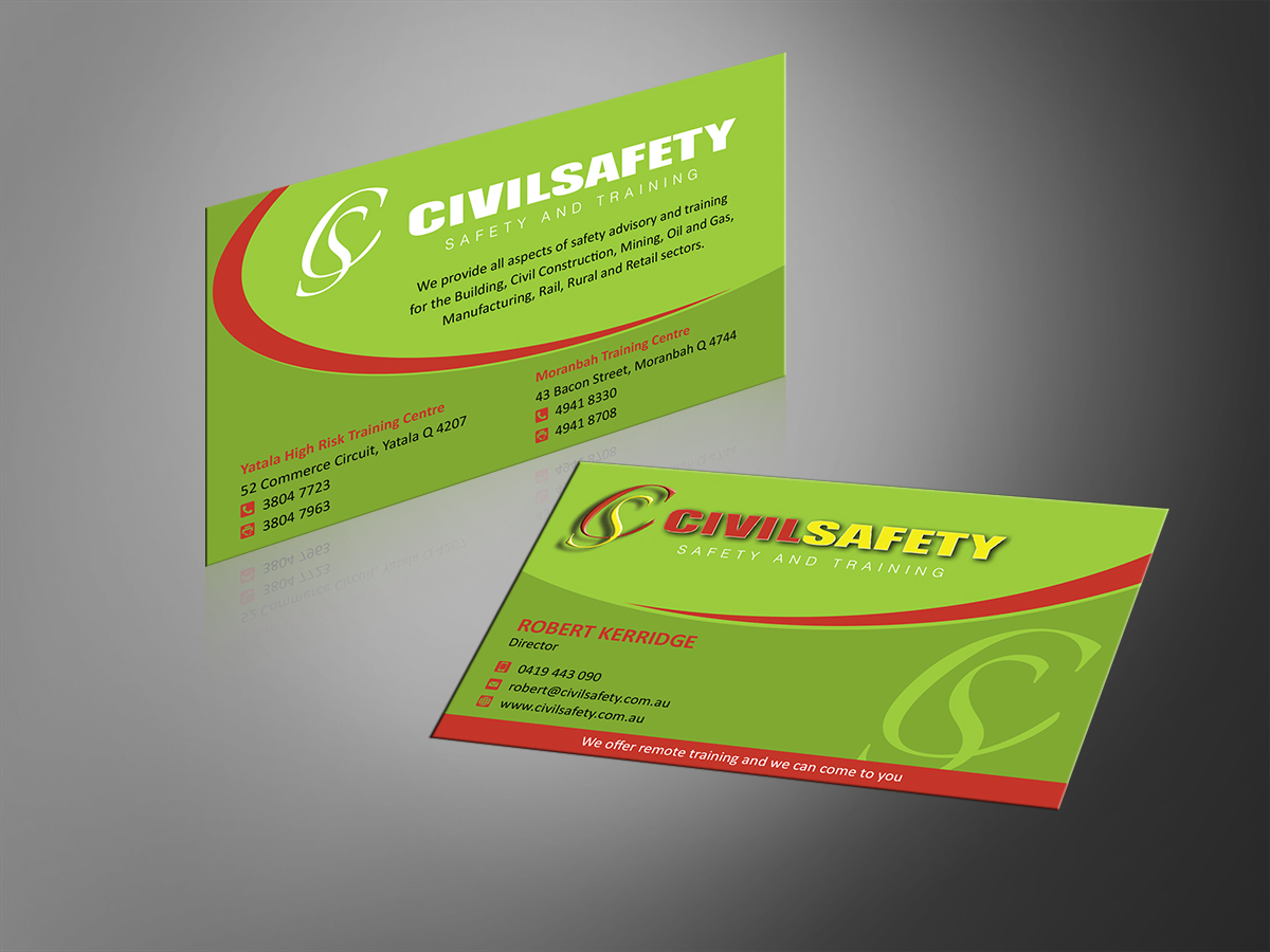 84 professional business card designs training business card business card design by mt for civil safety pty ltd design 2761236 reheart Images