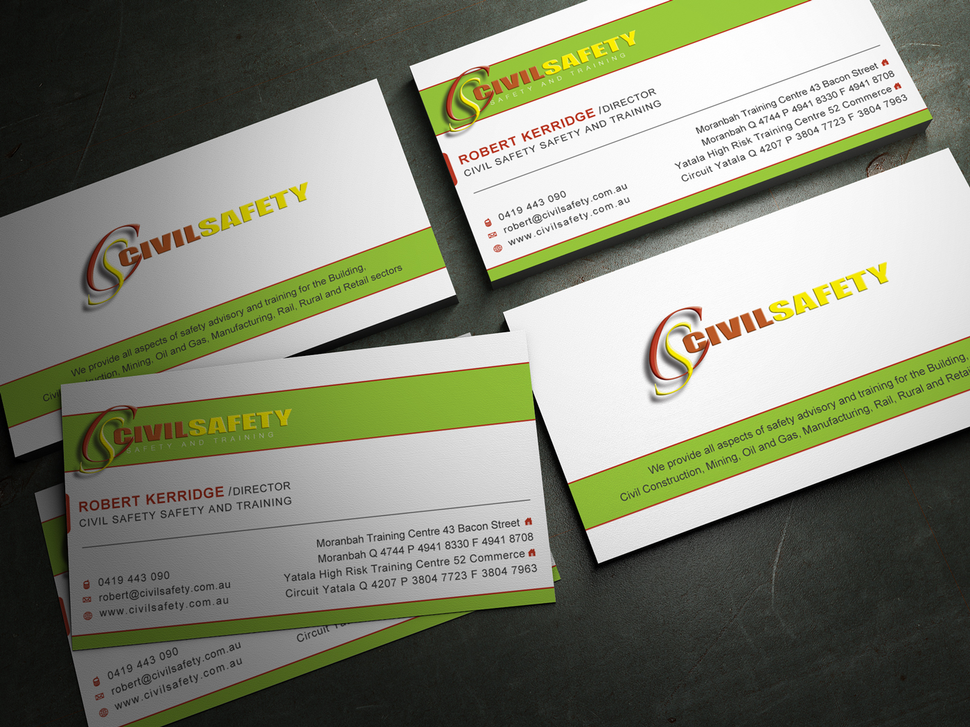 Professional bold training business card design for civil safety business card design by milimi for civil safety pty ltd design 2779635 reheart