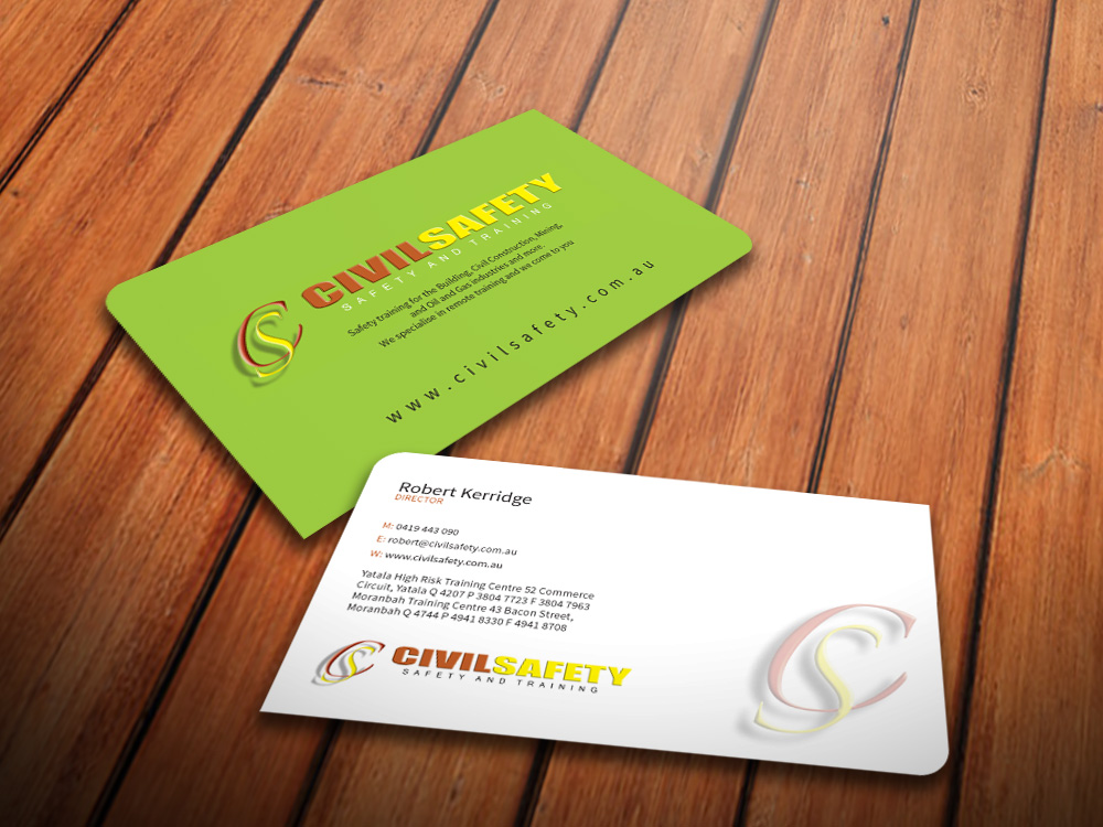 Professional bold training business card design for civil safety business card design by mediaproductionart for civil safety pty ltd design 2775950 reheart Images