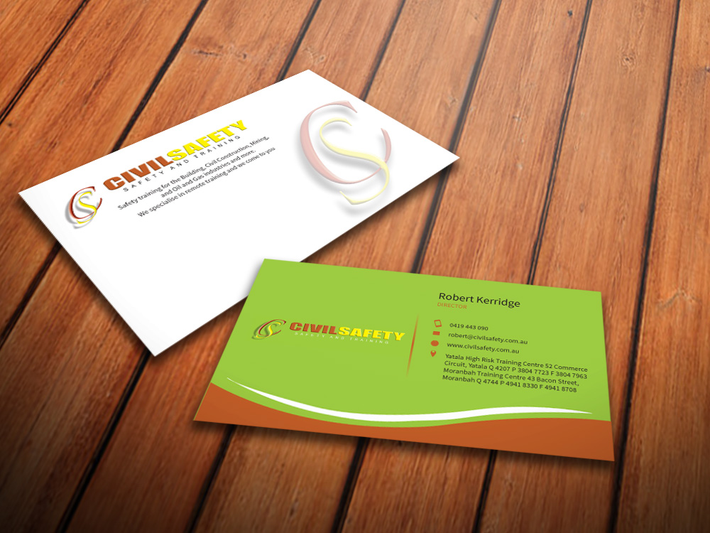 Professional bold training business card design for civil safety business card design by mediaproductionart for civil safety pty ltd design 2776160 reheart