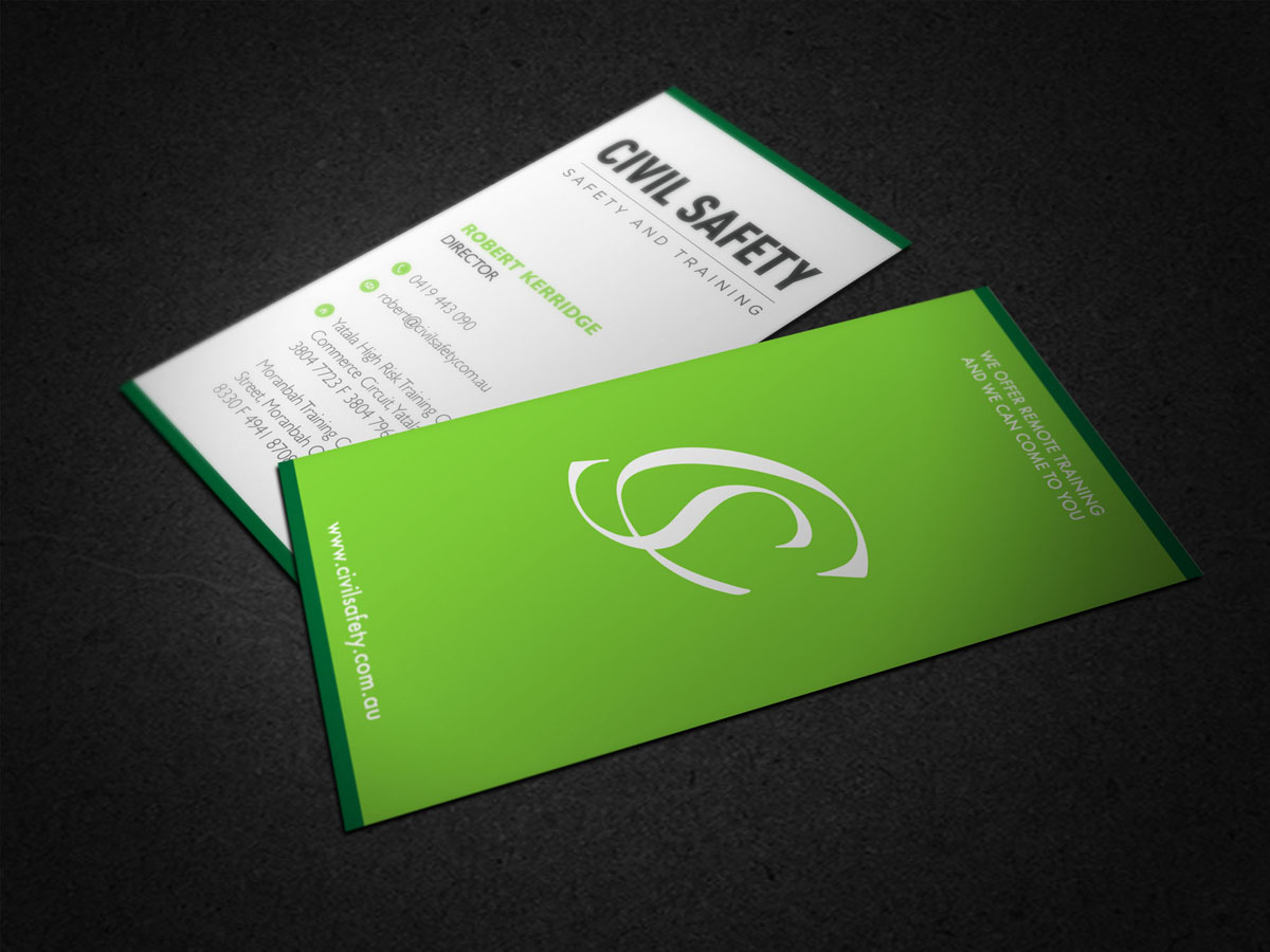 Professional bold training business card design for civil safety business card design by vanessasitsonthewall for civil safety pty ltd design 2786306 reheart Images