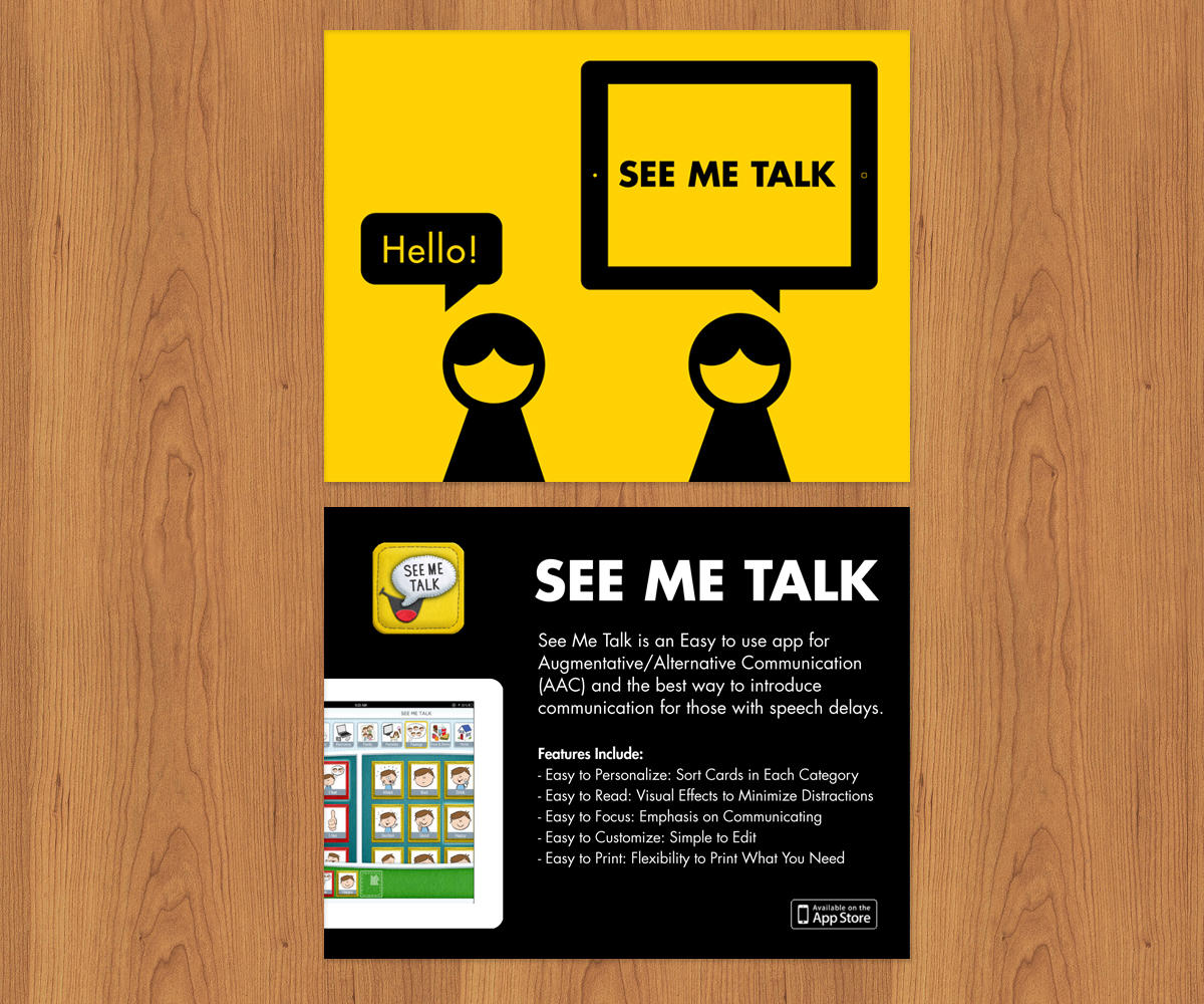 Colorful Playful Industry Postcard Design For See Me Talk By