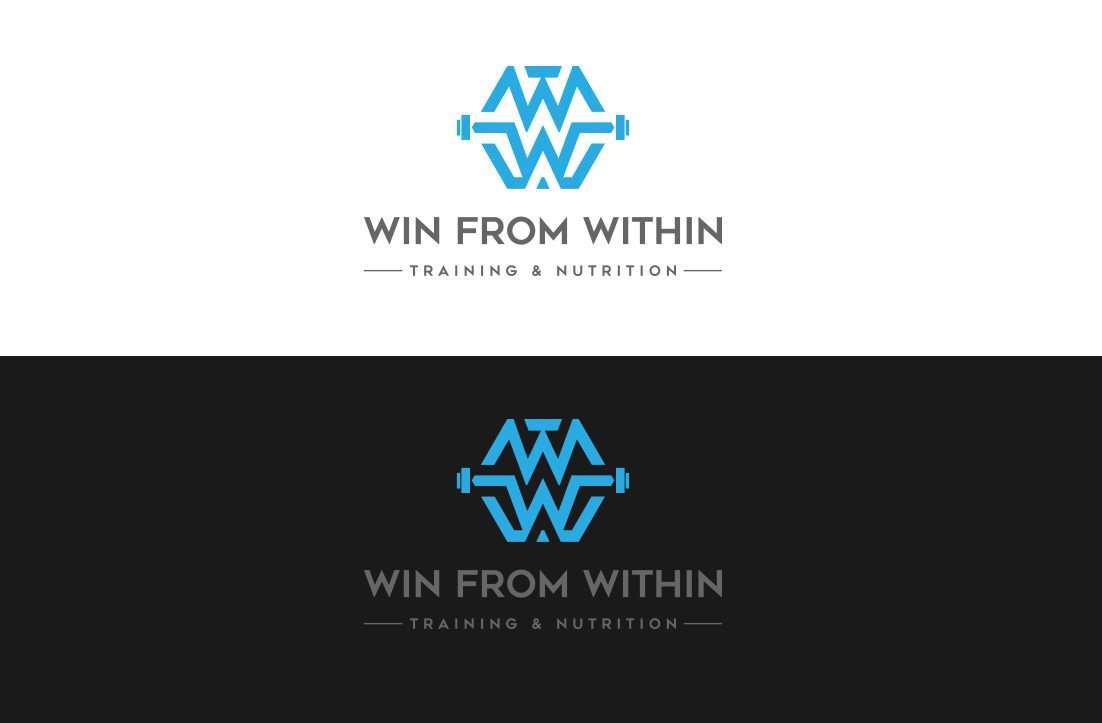 bold modern personal trainer logo design for win from within