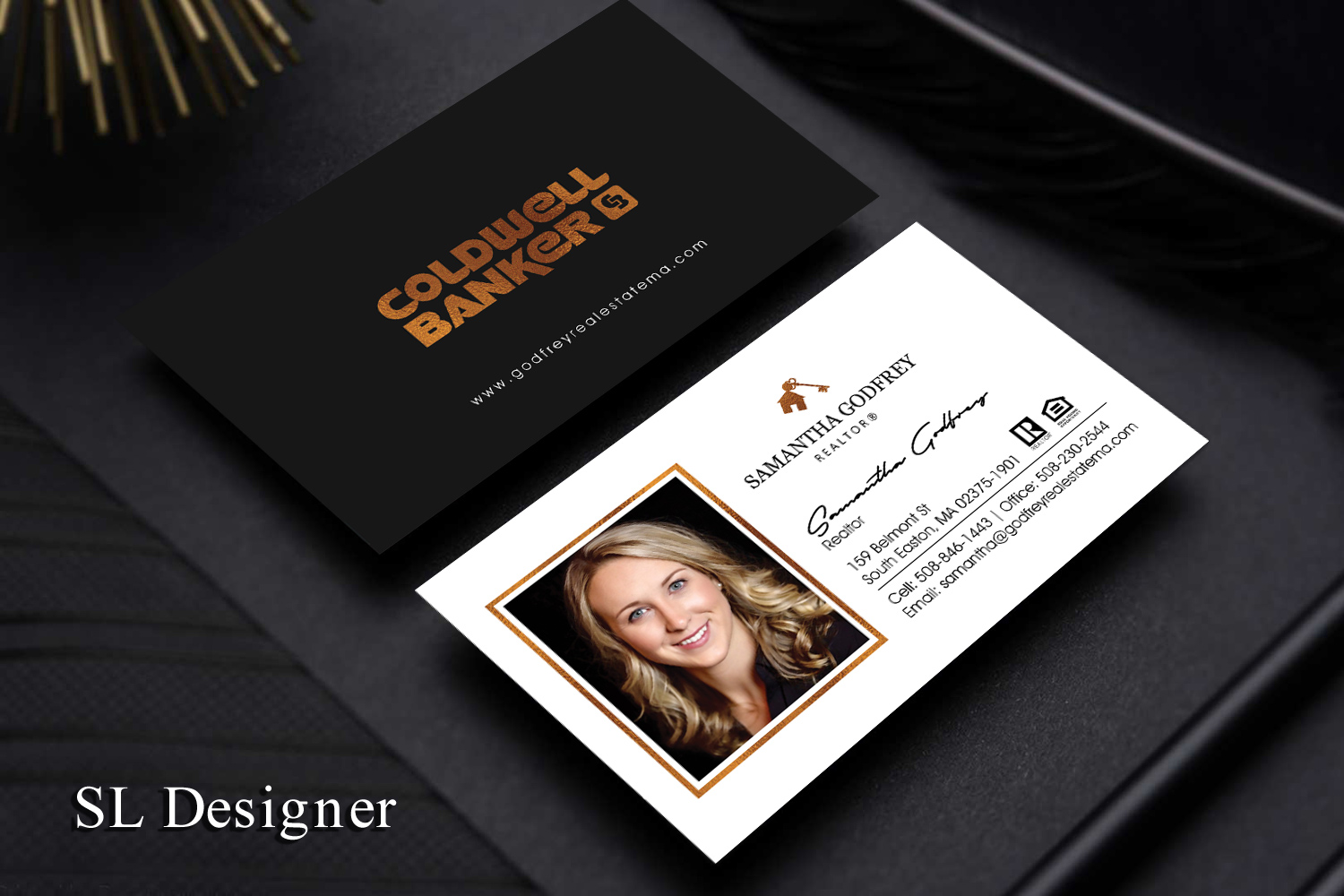 Modern professional real estate agent business card design for business card design by sl designer for godfrey auto inc design 17841376 reheart Gallery
