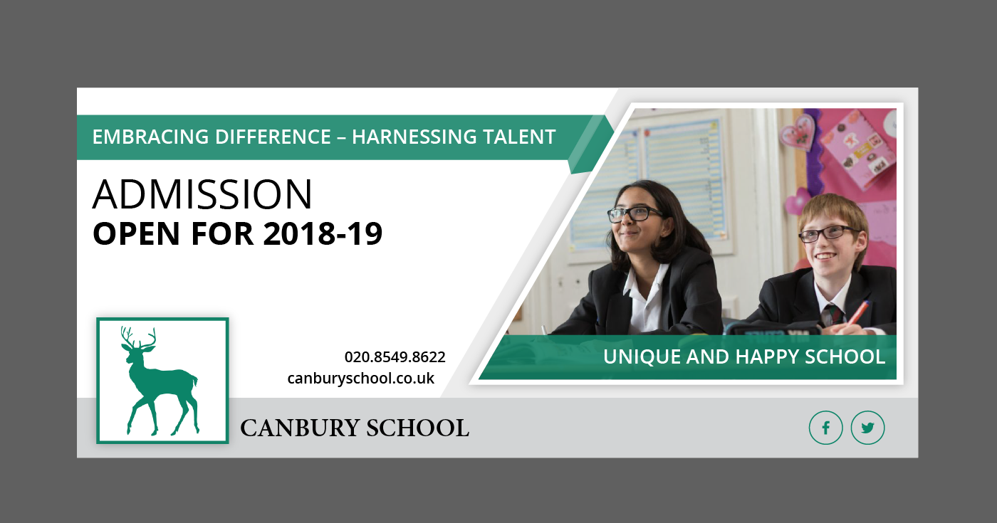 modern professional education banner ad design for canbury school