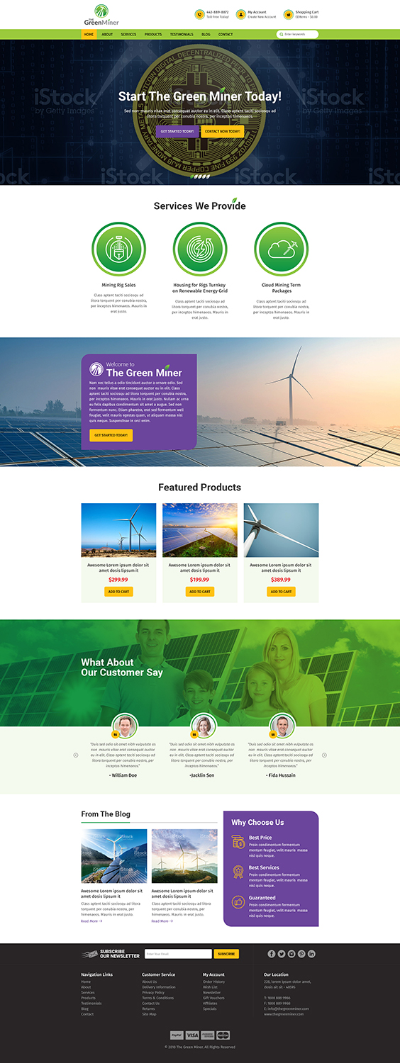 Modern, Bold, Mining Web Design for The Green Miner by RupalTechno