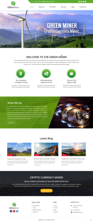 Green Miner - Crypto Currency Miner Powered by Renewable Energy