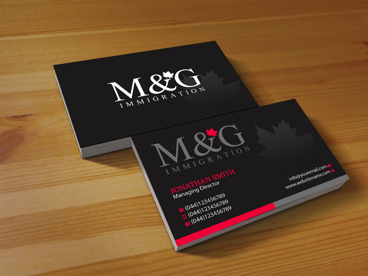 Bold conservative consulting business card design for mg bold conservative consulting business card design for mg immigration in canada design 17909068 reheart Choice Image