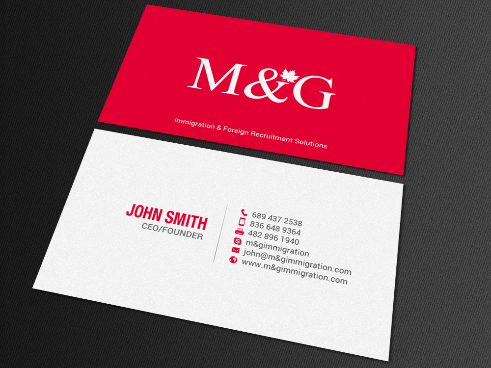 Bold Conservative Consulting Business Card Design For Mg