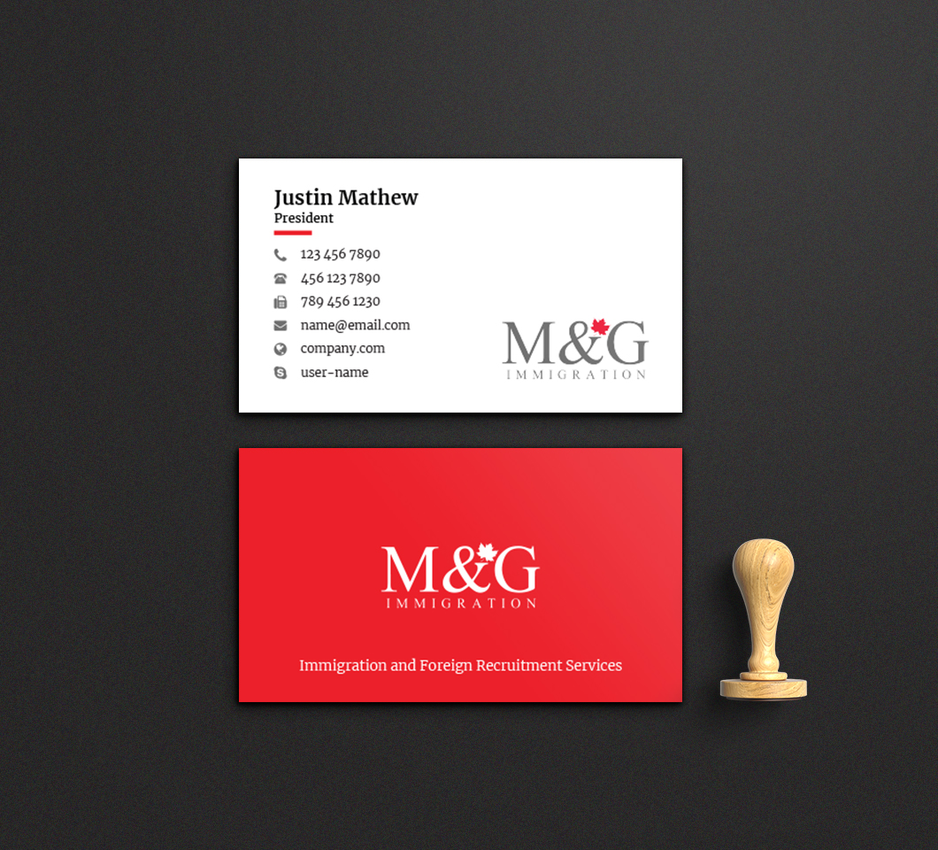 Bold, Conservative, Consulting Business Card Design for M&G ...