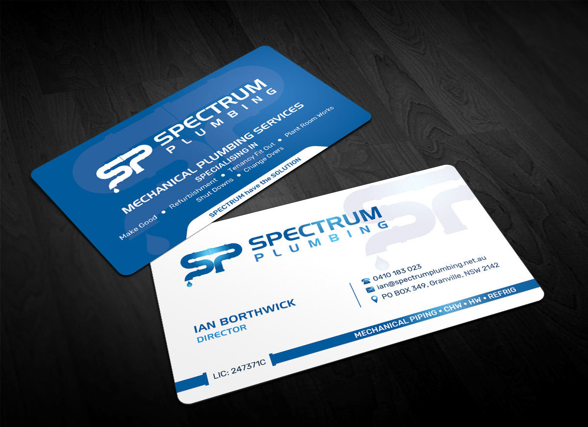 Professional serious plumbing business card design for spectrum business card design by sandaruwan for spectrum plumbing design 17908312 colourmoves