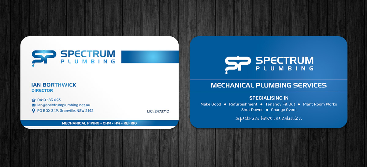 Professional serious plumbing business card design for spectrum business card design by sandaruwan for spectrum plumbing design 17908355 colourmoves