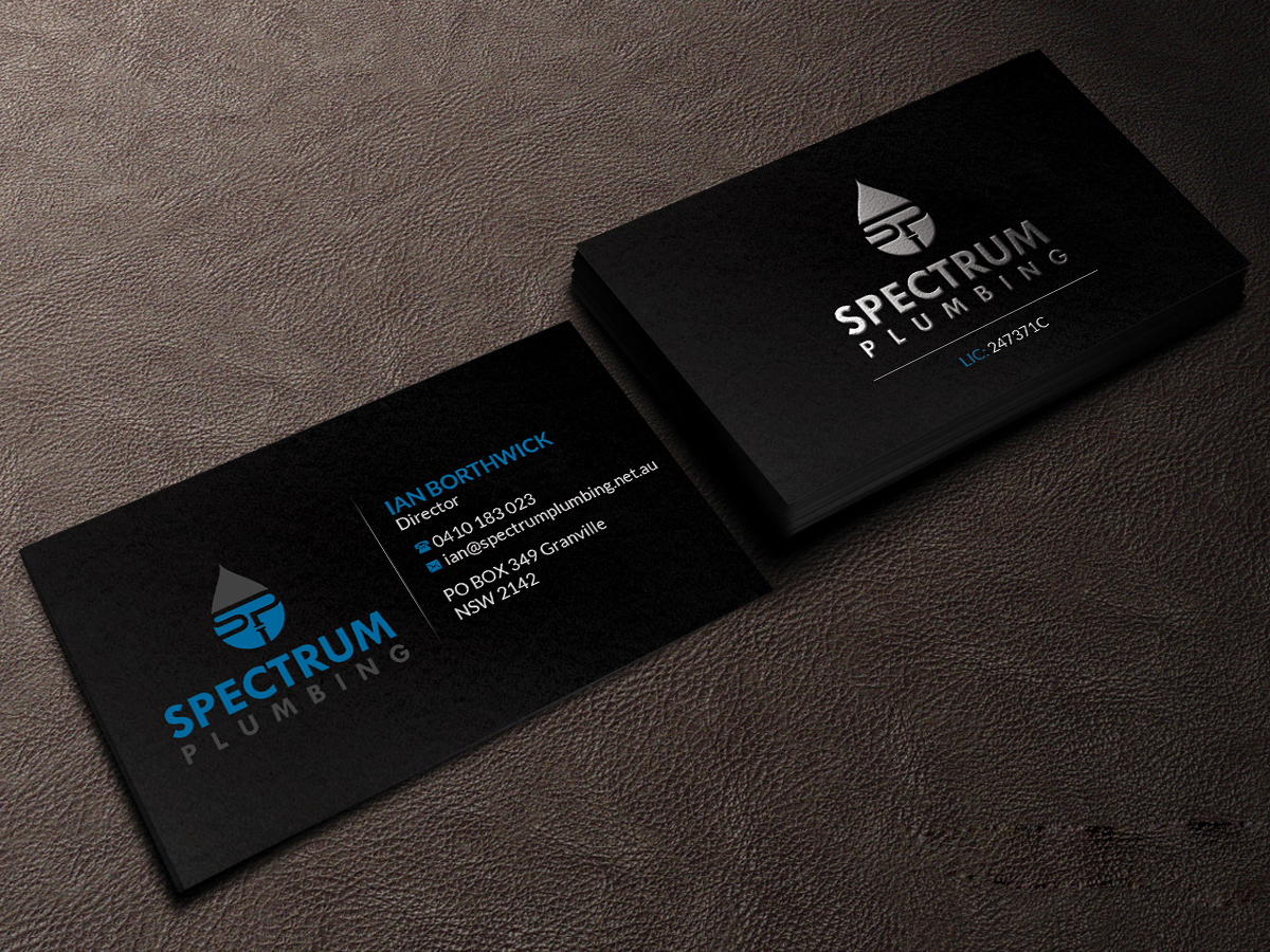 Professional serious plumbing business card design for spectrum business card design by creations box 2015 for spectrum plumbing design 17947904 colourmoves