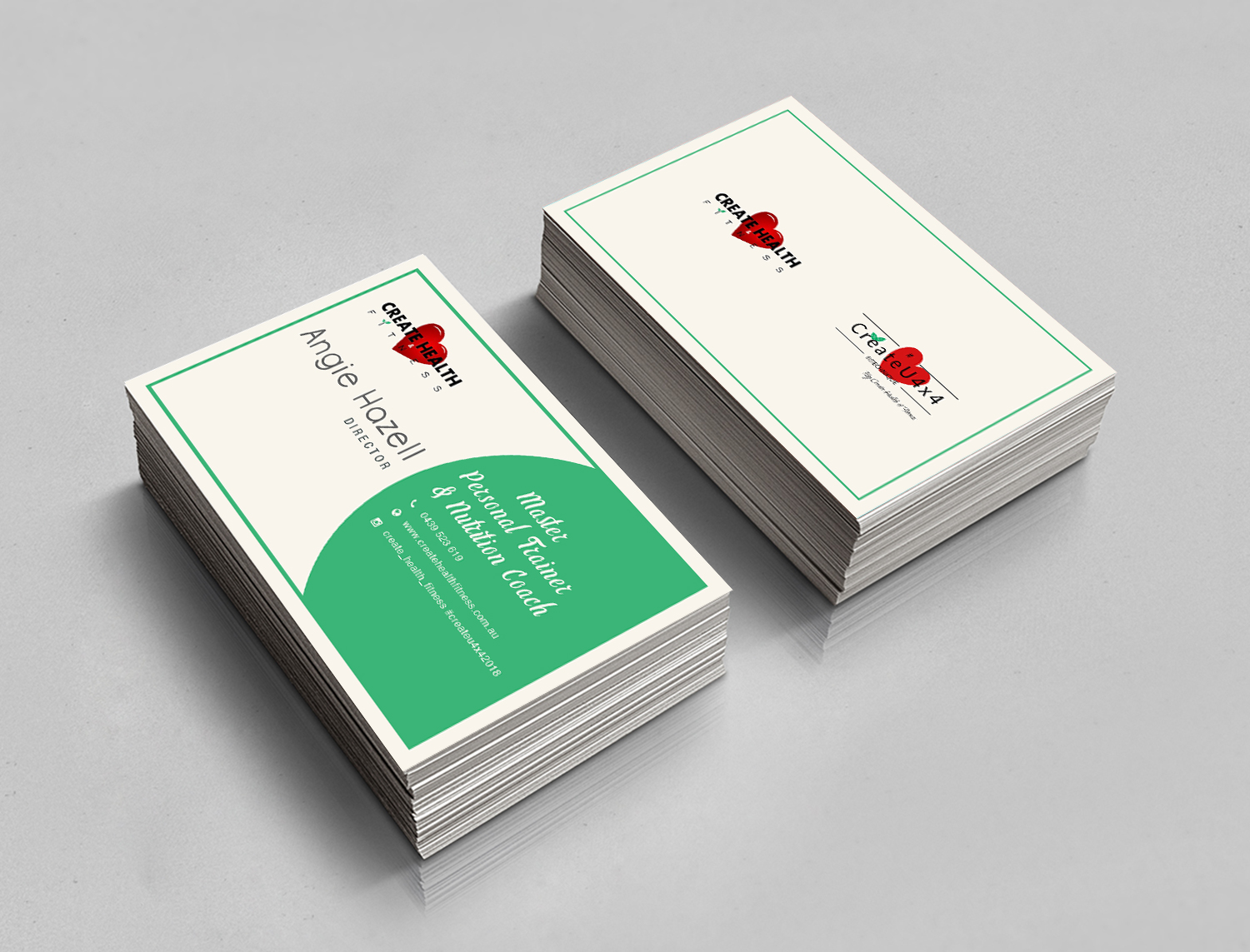 Modern, Upmarket Business Card Design for Create Health & Fitness by ...