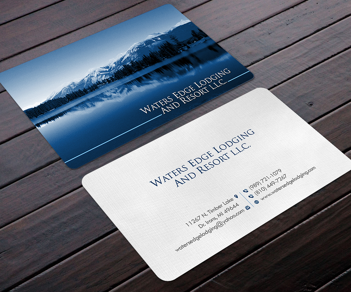 Business business card design for waters edge lodging and resort business business card design for waters edge lodging and resort llc in united states design 17943438 reheart Gallery