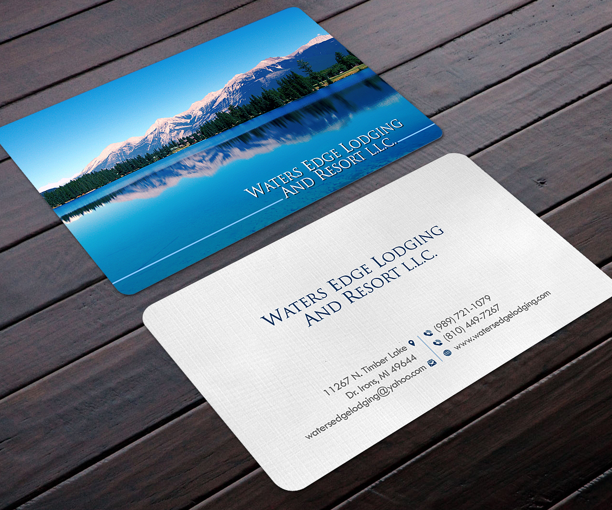 Business business card design for waters edge lodging and resort business business card design for waters edge lodging and resort llc in united states design 17943439 reheart Images