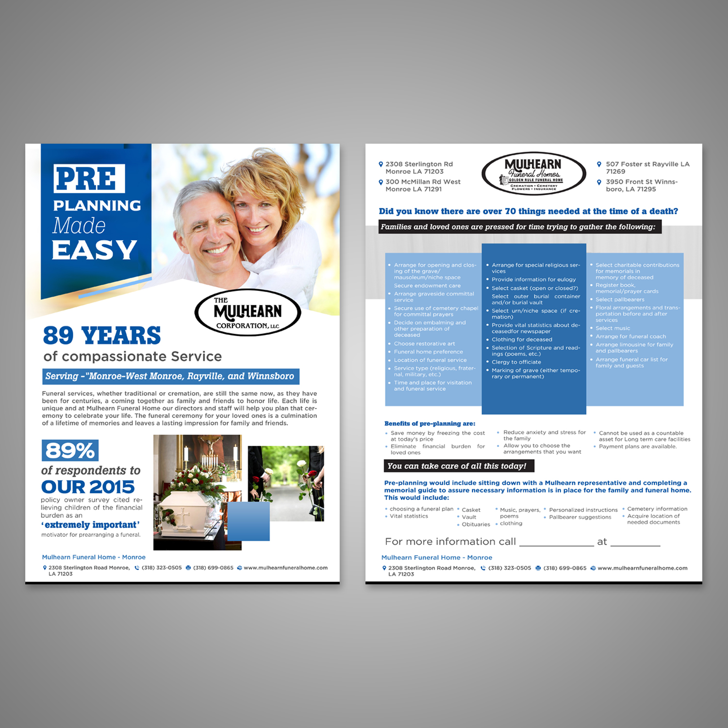 Serious, Elegant, Funeral Home Flyer Design for Mulhearn Funeral ...