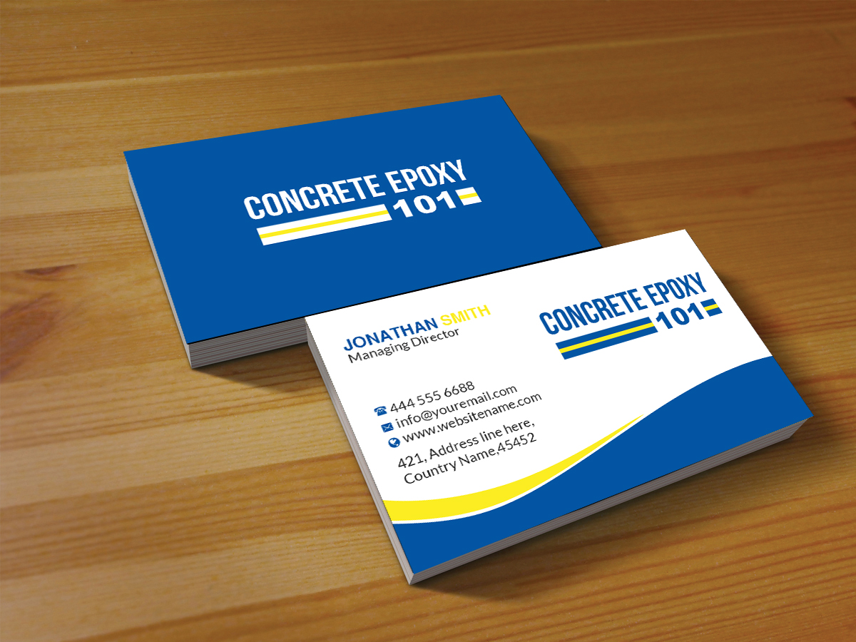 Modern professional construction business card design for concrete business card design by creations box 2015 for concrete epoxy 101 design 17975045 reheart Choice Image