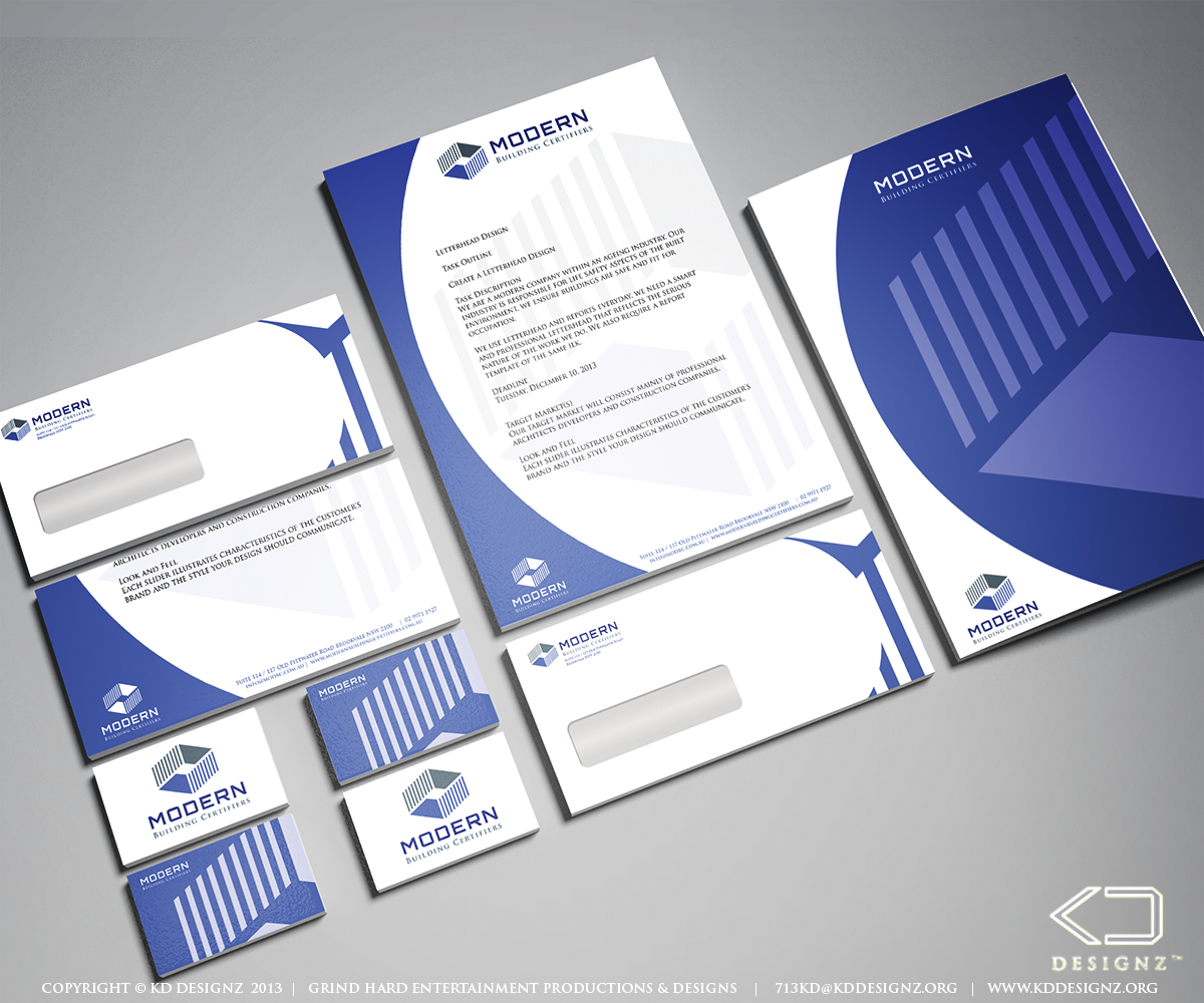 Serious modern letterhead design for modern building for Professional building designer