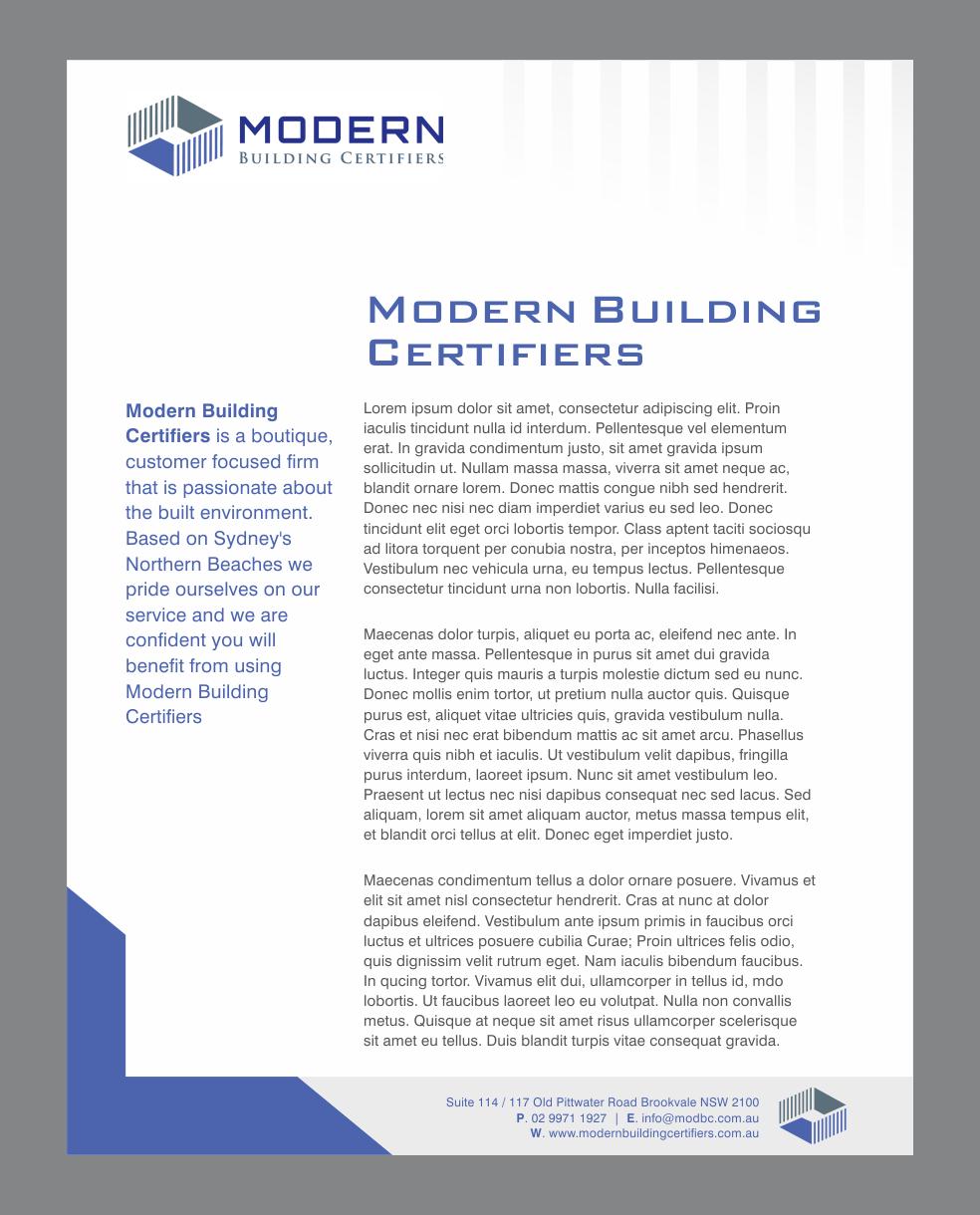 Serio moderno letterhead design for modern building for Certified professional building designer