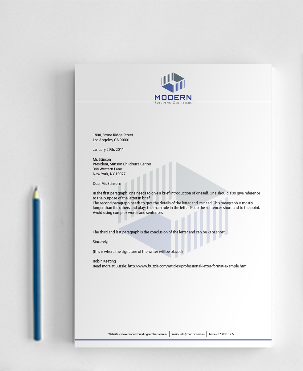 Letterhead Design By Nafizrahat For Modern Building Certifiers | Design  #2783584