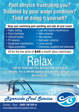 Flyer Design (Design #666117) submitted to Flyer for swimming pool service  business (