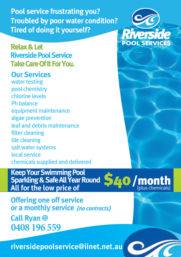 Swimming Pool Service Brochure Design : Serious modern flyer design for ryan murray by jb