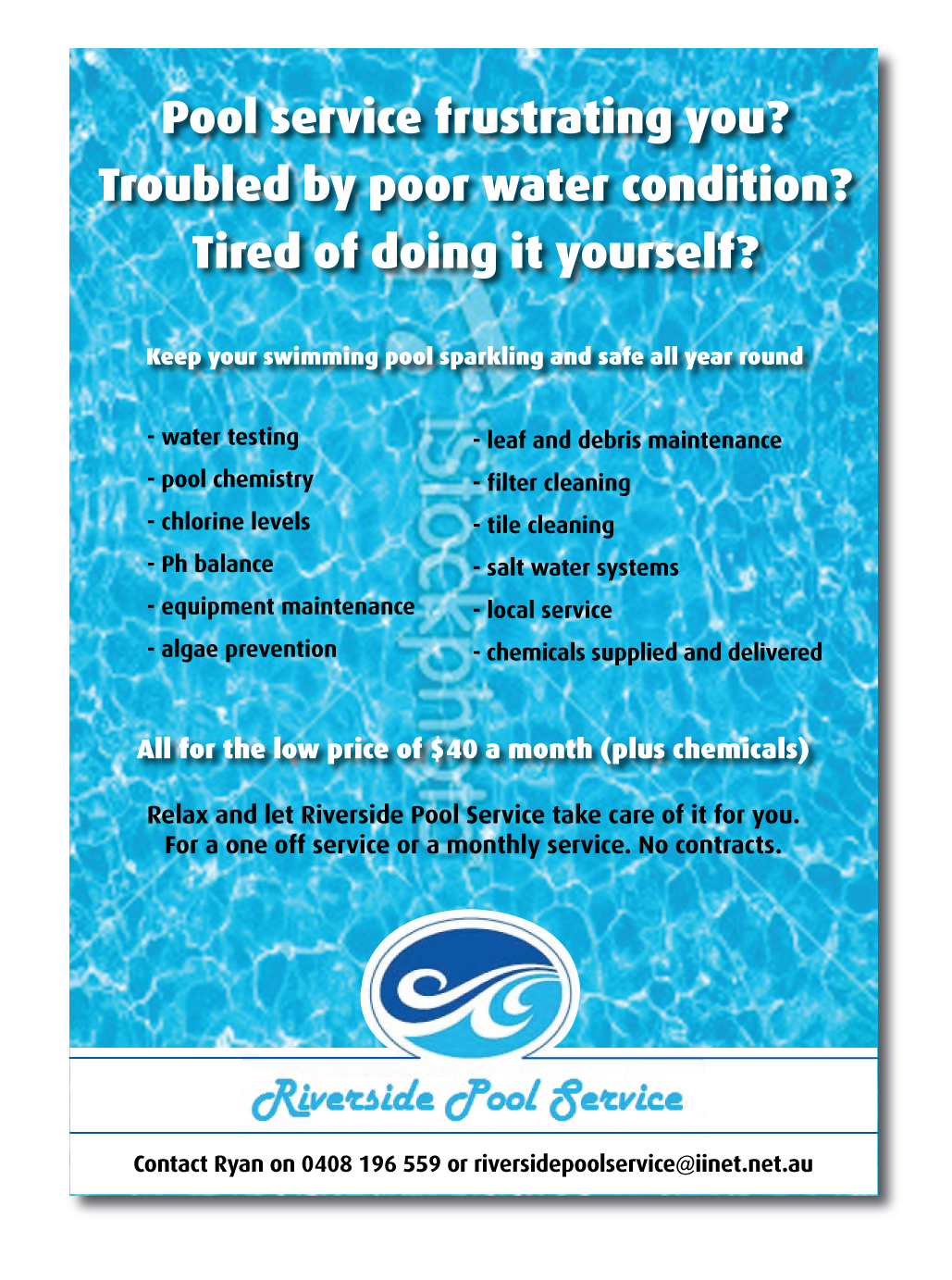 pool service flyers. Flyer Design By Tony Stevens For This Project | #643948 Pool Service Flyers N