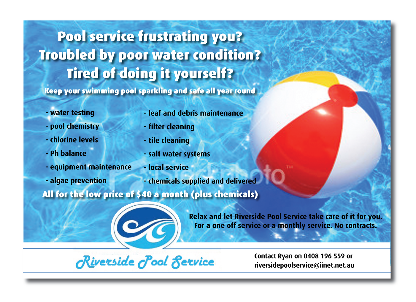 Serious Modern Pool Service Flyer Design For A Company By Tony Stevens Design 643952