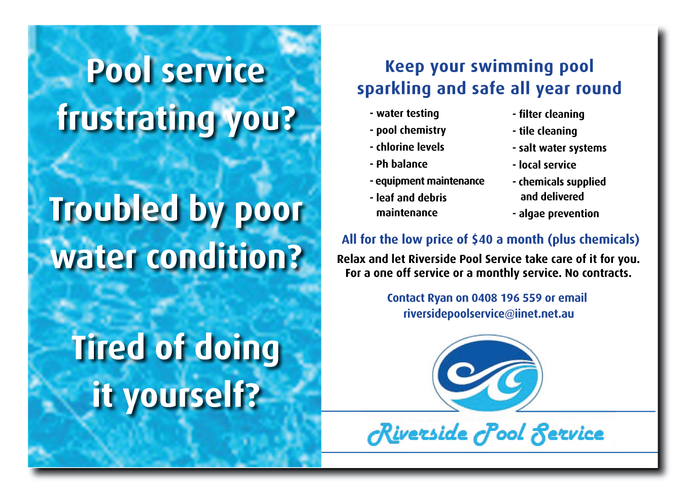 Swimming Pool Service Flyer Design : Serious modern flyer design for ryan murray a
