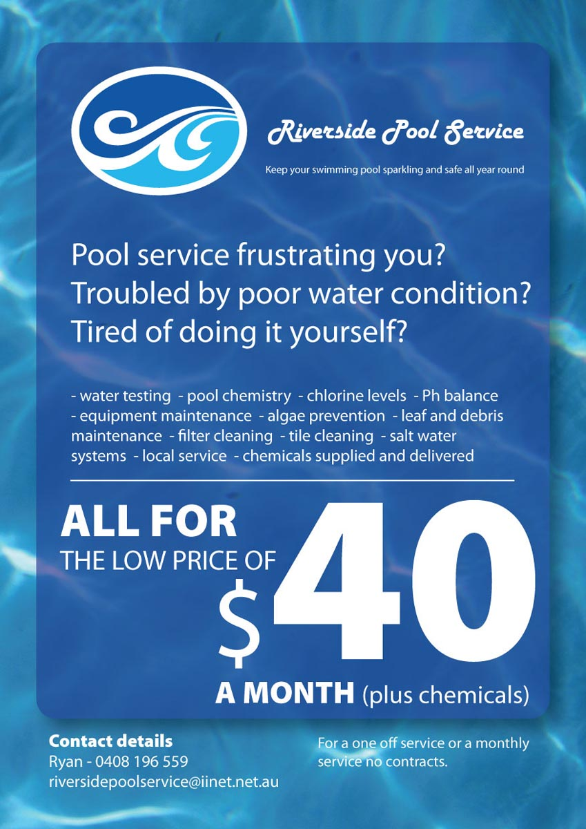Swimming Pool Service Flyers : Serious modern pool service flyer design for a company